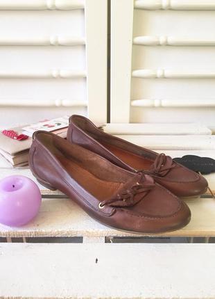 Стильные кожаные туфли мокасины слипоны с бантиком