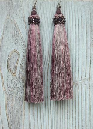 Шелковые серьги, серьги с шелковыми кисточками, длинные серьги-кисточки, трендовые серьги