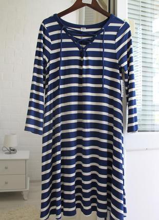 Новое платье в полоску на шнуровке  в морском стиле