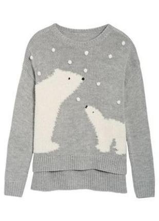 Ассиметричный джемпер,свитер,пуловер от next с полярными медведями,uk-18\eur-46