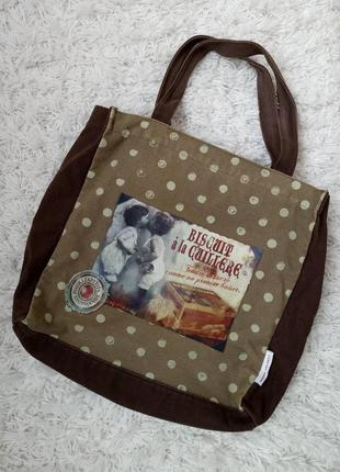 Текстильная вместительная сумка в горошек