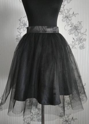 Черная пышная фатиновая юбка пачка сетка р. xs s m l xl