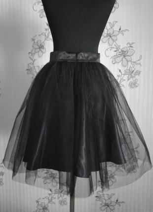 Черная пышная фатиновая юбка пачка сетка р. xs s m l xl2 фото