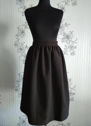 Черная пышная юбка в сборку на подкладке р. xs s m l xl