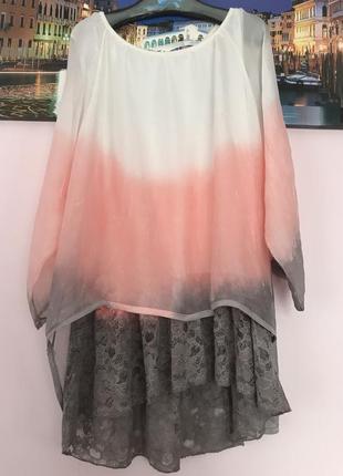 Размер 16-20 шикарная легкая блуза