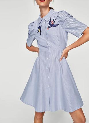 Красивейшее платье с вышивкой zara