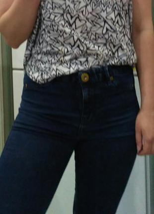 Темно синие джинсы джеггинсы с высокой талией