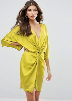 844a01fbecb1 Лимонное атласное платье asos petite kimono front mini dress ASOS ...