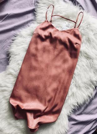 Hm платье бельевой стиль новое xs s розовое коралловое