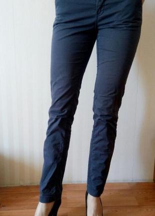 Офисные весенние осенние женские брюки h&m, синие штаны классические деловые чиносы