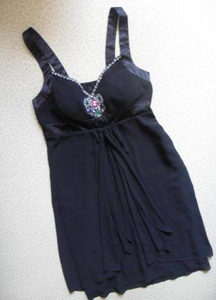 Офигенное нарядное платье-сарафан на выпускной вечер офис 54-56р черный атлас узор