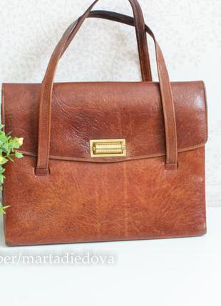 Кожаная классическая винтажная сумка, натуральная кожа с текстурой, италия