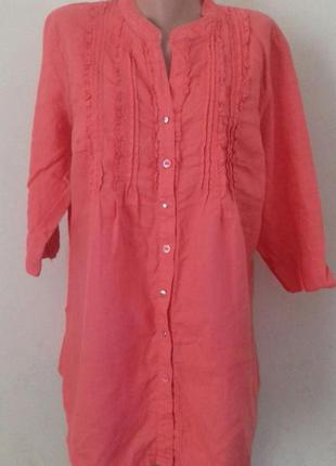 Коралловое льняная платье-туника для беременных