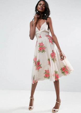 Платье с цветочным принтом и v-образным вырезом на спине asos, р-р 8
