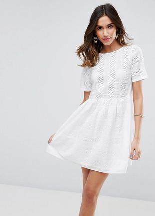 Катоновое платье с перфорацией asos, р-р 8