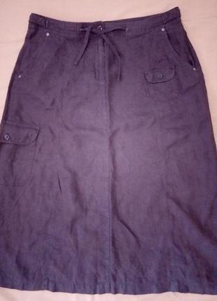Распродажа! натуральная льняная юбка, юбочка с карманами