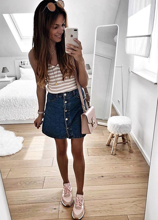 Новая джинсовая юбка трапеция на пуговках topshop тренд !