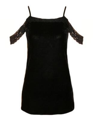 Велюровое бархатное мини платье туника майка с кружевом в бельевом стиле размер s-xs