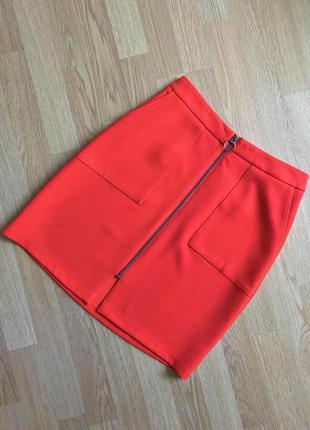 Юбка красная с молнией мини papaya