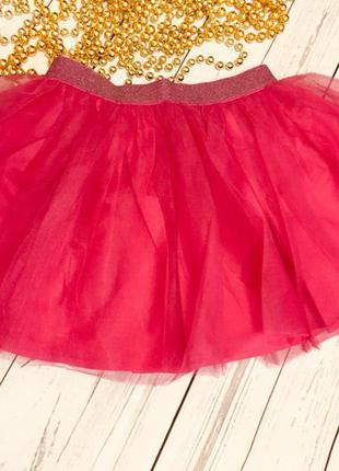 Яркая аллая фатиновая юбка от crazy8, размер  4т