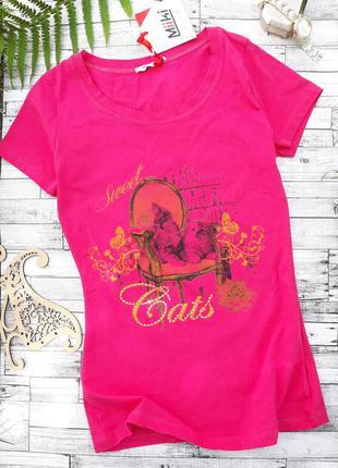 Новая розовая футболка с котиком)