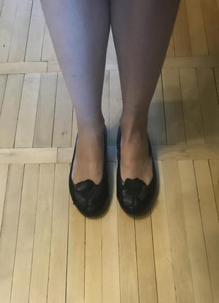 Балетки чёрные кожаные
