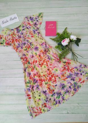 Платье летнее шифон цветочный принт туника пляжная