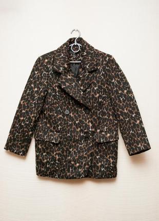Пальто oversize h&m в леопардовый принт