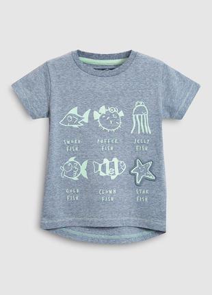 Хлопковая футболка 2-3 и 3-4 года некст с морскими животными