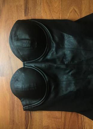 Кожаный корсет топ amisu