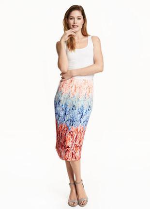 Новая яркая плиссированная юбка миди h&m