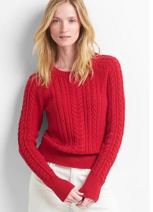 Gap вязаный красный свитер пуловер джемпер хлопок размер xs-s