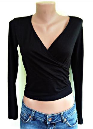 Легкая черная кофта на запах укороченная от new look размер 8