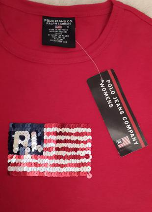 Брендовый эффектный лонгслив ralph lauren polo jeans красивого красного цвета 100% cotton