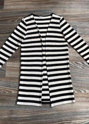 Черно-бежевый полосатый хлопковый вязаный удлиненный кардиган кофта от only
