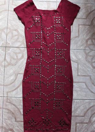 Платье миди morgan в заклепках
