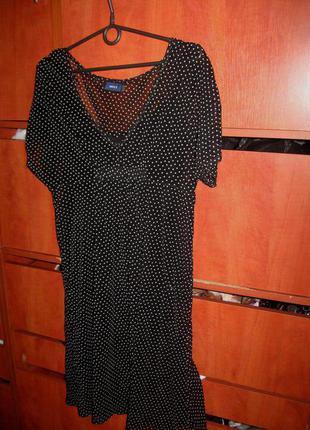 Платье горошек сетка черно-белое