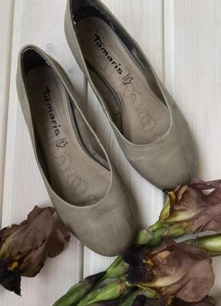 Туфли кожаные балетки tamaris 37р серые туфли на низком ходу