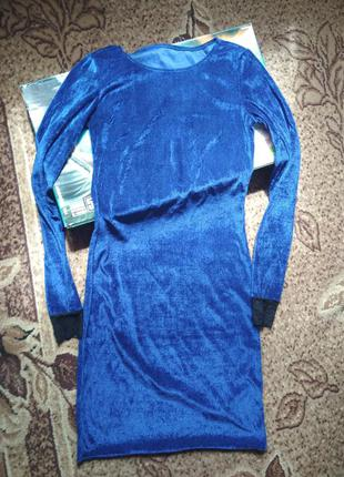 Велюровое, бархатное синее платье!