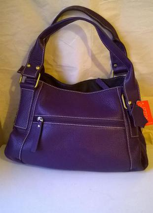 Кожаная сумка раоlo truzzi, италия, оригинал, royal purple, суперцена