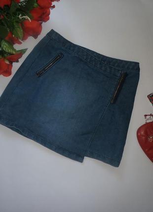 Ассиметричная джинсовая юбочка на запах george