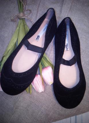 Черные замшевые балетки, туфли, h&m, premium, 20 см