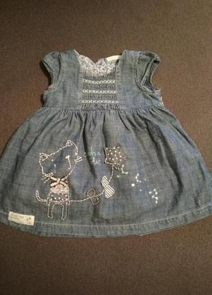 Красивое джинсовые платье для маленькой модницы next