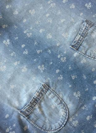 Стильное джинсовое платье в цветочек р.1044