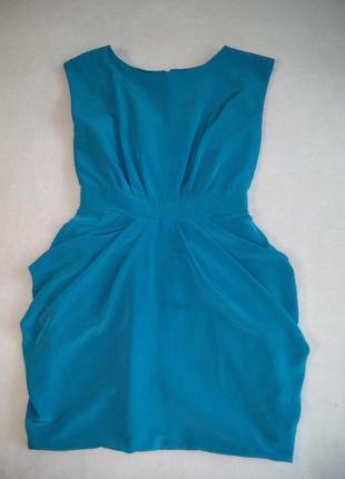 Изумрудное яркое коктейльное платье юбка тюльпан