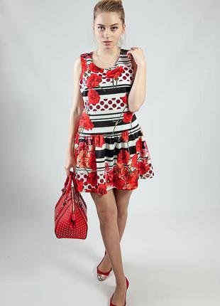 Платье женское летнее яркое цветное короткое rinacsimento
