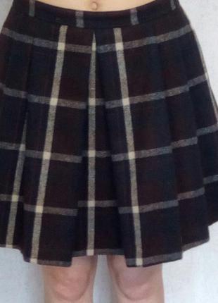 Шикарная юбка в клетку- морсалового цвета