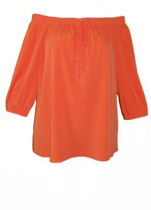 Блуза с открытыми плечами на резинке tu свободная реглан большой размер 20 наш 54