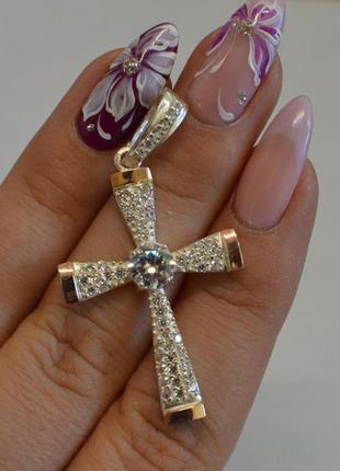 Серебряный крестик с золотыми вставками