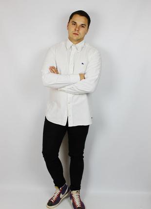 Белоснежная рубашка burberry с фирменной клеткой и всадником пуговки гравированы